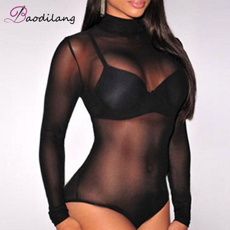 Frauen sehen durch Mesh Mantel Bodys Strampler Lady weibliche Sexy - Damenbekleidung - Foto 2