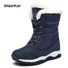 2017 Leather Winter Boots Woman Lace Up Snowboots Female Waterproof Ski Outdoor Shoes Size 41