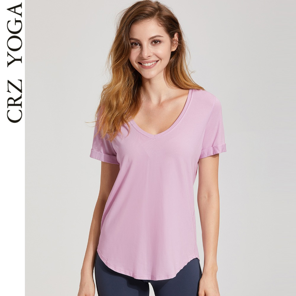 3ef98cb8fffb9 Detail Feedback Questions about CRZ YOGA Women s Short Sleev Pima Cotton V  neck Workout T Shirt Tops on Aliexpress.com