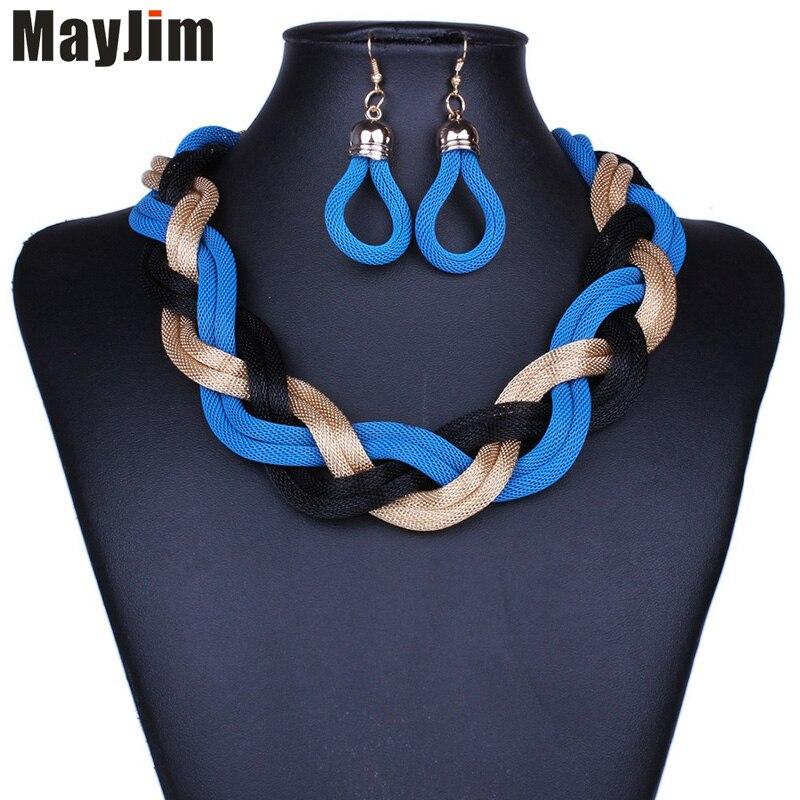 Gros 12 pièces déclaration collier de mode pour les femmes 2016 grande chaîne en or en métal tissage tour de cou colliers et pendentifs accessoires