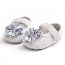 Newborn Toddler Baby Lace Pearl Flower Shoes  Princess Soft Bottom Gray&Pink Outdoor Elegant First Walkers 0-18M