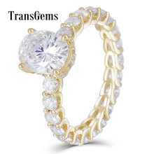 TransGems Luxury 18K Yellow Gold 2ct 9*7MM Excellent Oval Cut F Color Moissanite Engagement Ring for Women with Eternity Band
