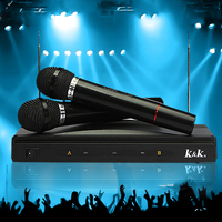 Handheld Microphone 2 Mic With Receiver For Karaoke DJ Sing Songs Dual Cordless Wireless Microphones Mobility Affordable