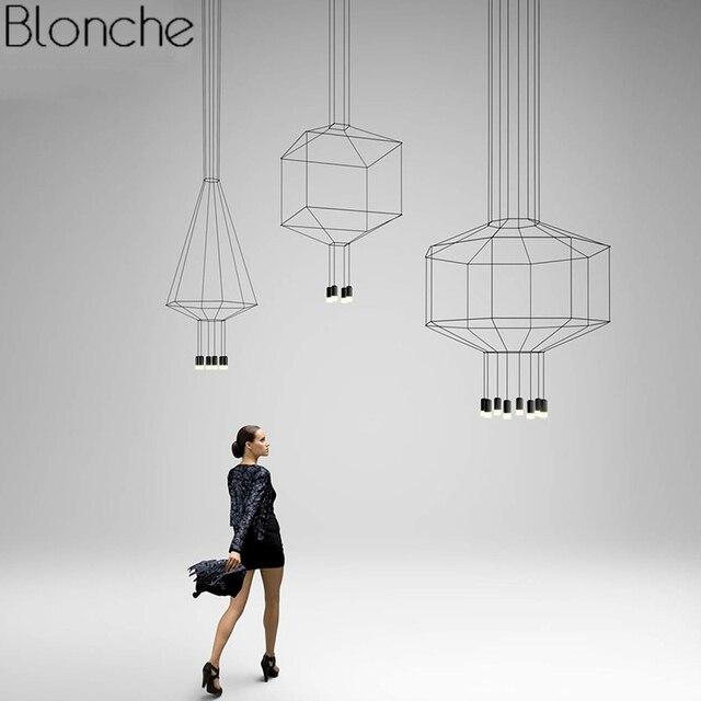 Modern Line Art Pendant Lights Led String Lamp DIY Geometric Hanging Lamp for Living Room Home Decor Lighting Fixture Luminaire