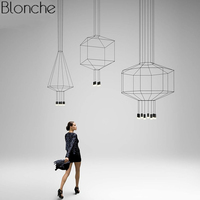 Modern Line Art Pendant Lights Led String Lamp DIY Geometric Hanging Lamp for Living Room Home Decor Lighting Fixture Luminaire