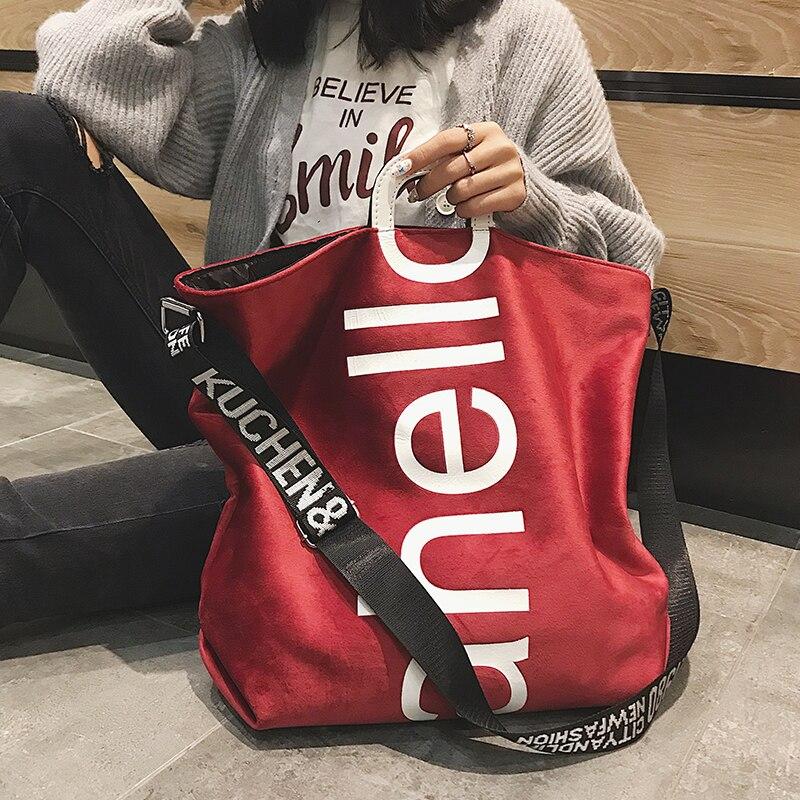 Женская бархатная сумка-тоут через плечо, с надписью