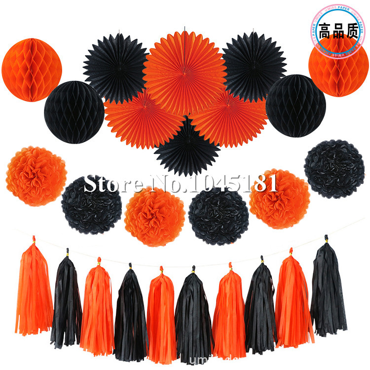 ipalmay 30set blackorange halloween decorations banner flags paper tassel garland paper flower pom poms and latex balloons in party diy decorations from - Halloween Pom Poms