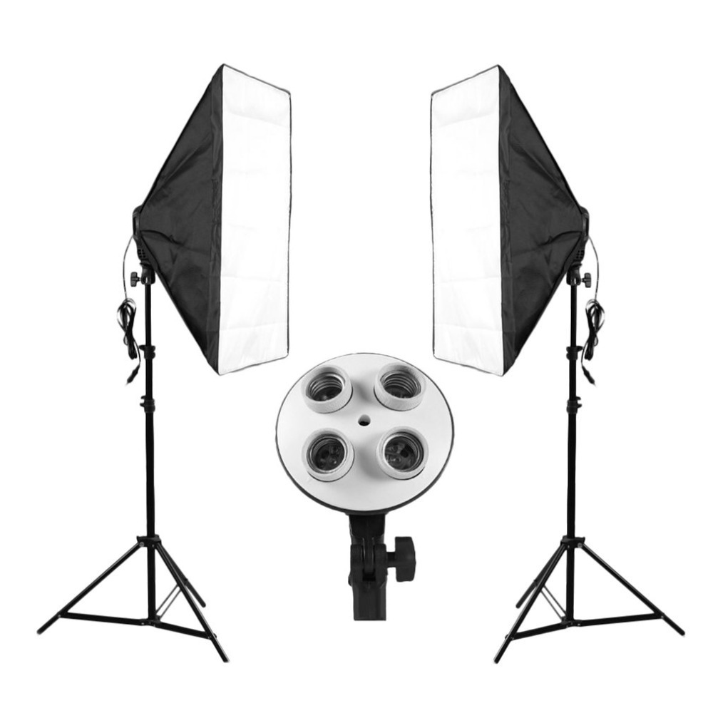 LESHP Photography 70x50cm Softbox Continuous Lighting System + 4 Lamp Socket Photo Studio Equipment Light + 2 Support Stand photography studio soft box continuous lighting kits 5 lamp head holder 2 softbox 2 light stand 2 45w bulbs 10 photo studio set