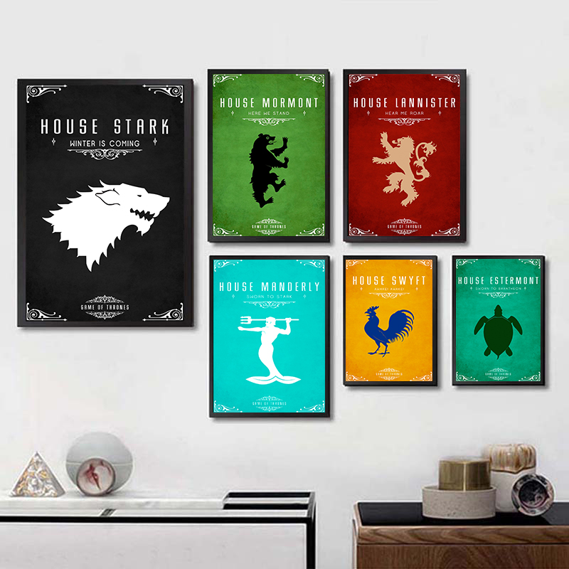 Game of Thrones Wall Art White Coated Paper Print House Targaryen Banner Poster Stark Painting Movie