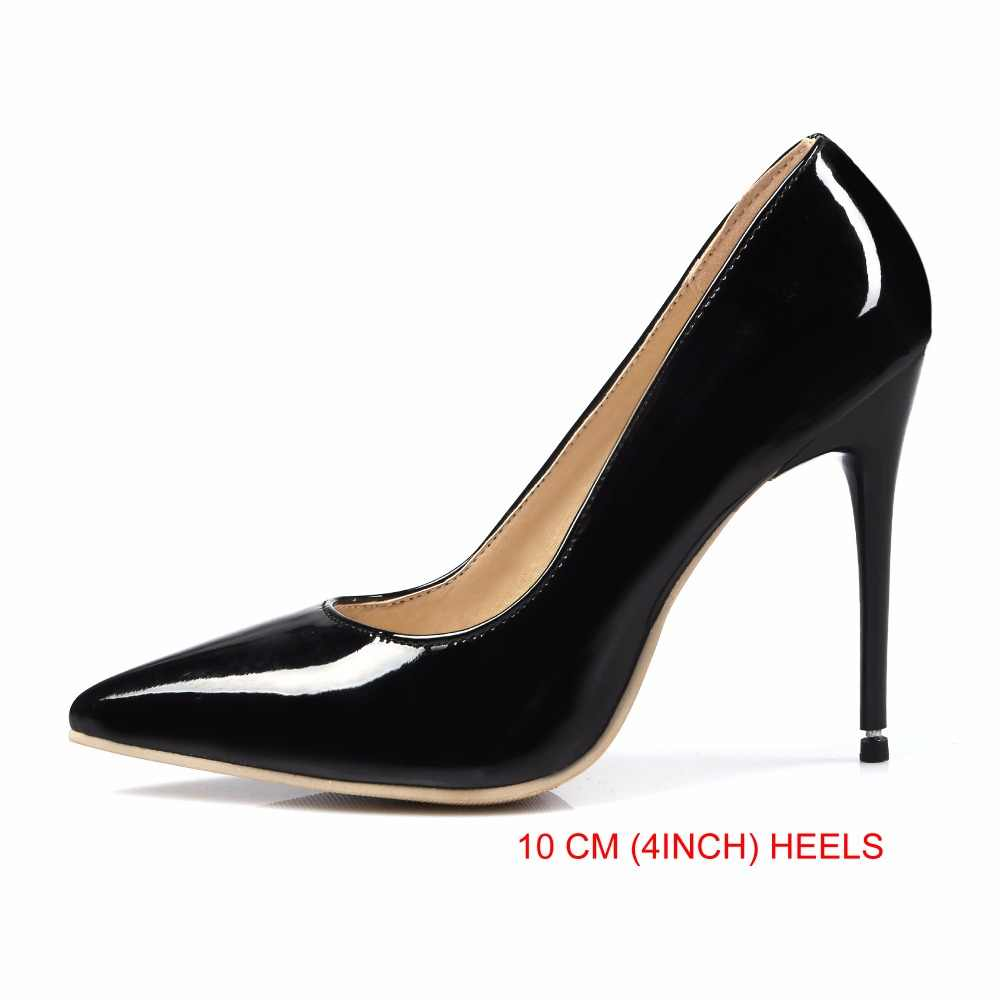 the latest 91134 cdac5 Brand New Sexy Red White Black Women Nude Formal Pumps Ladies Glossy Shoes  High Gladiator Heels EM10-3 Plus Big Size 10 12 43 47
