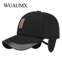 Wuaumx Branded Autumn Winter Baseball Caps For Men Woolen Warm Hat With Earflaps Bone Snapback Cap Black Casquette Cappello