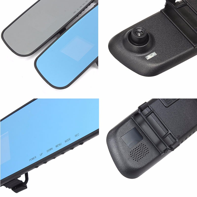 2016 good quality newest  HD dash car camera dvr parking rearview mirror video recorder with night vision front camera mini dvr (3)