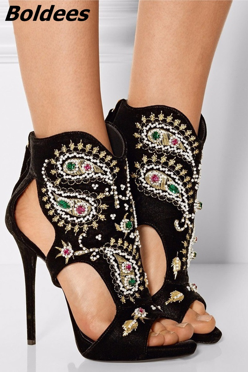 Glamorous Black Suede Embroidery Crystal Decorated Heels Sexy Cut-out Peep Toe Stiletto Heel Gladiator Sandals Women Dress ShoeGlamorous Black Suede Embroidery Crystal Decorated Heels Sexy Cut-out Peep Toe Stiletto Heel Gladiator Sandals Women Dress Shoe