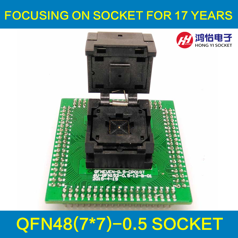 IC550-0484-004-G Programming Socket QFN48 MLF48 IC Test Adapter Pitch 0.5mm Clamshell Chip Size 7*7 Flash Adapter Burn in Socket qfn52 mlf52 wlcsp52 burn in ic test socket with clamshell np506 052 052 g adapter pitch 0 4mm chip size 7 7 programming socket