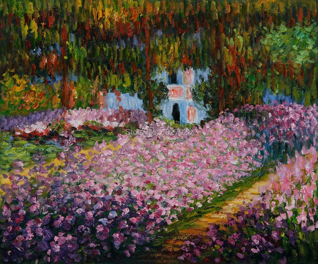 US $39 0 |Classical Wall Art Famous Artist Monet Oil Painting Artist's  Garden at Giverny Hand Painted Painting Picture on Canvas-in Painting &