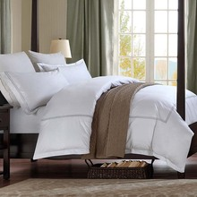 Luxury 100% Cotton High quality Fabric 5 stars Hotel Bedding set Embroidery solid color pure white Sheet+2Pillowcase+Duvet Sets