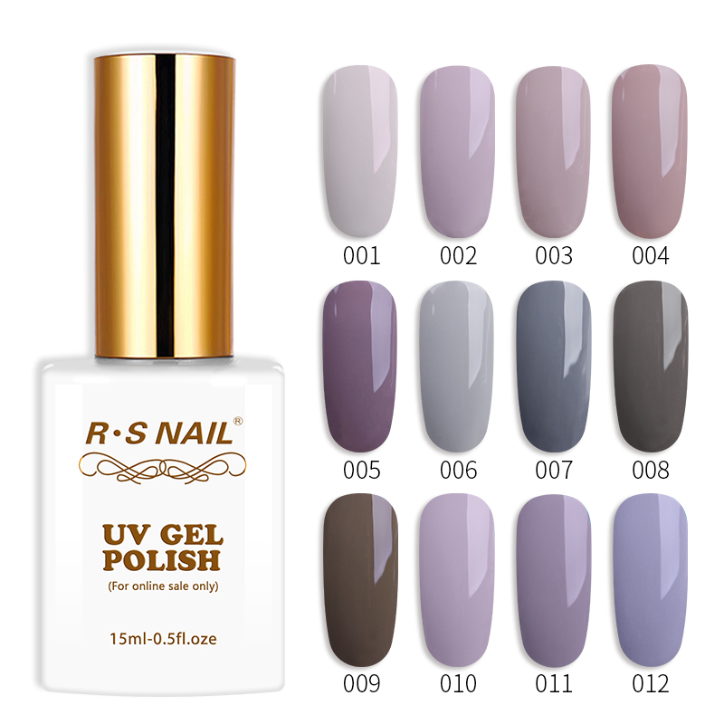 RS Nail 15ml gel nail polish uv led varnish purple gray color series lacquer vernis semi permanant set