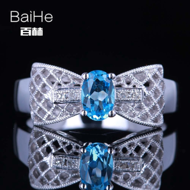 BAIHE Sterling Silver 925 0.6CT Certified Oval cut Flawless Genuine Blue Topaz Engagement Women Office/career Fine Jewelry Ring