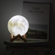 3D принт Перезаряжаемые луна светильник светодиодный Ночной светильник творческий сенсорный выключатель луна светильник для Спальня украшения подарок на день рождения