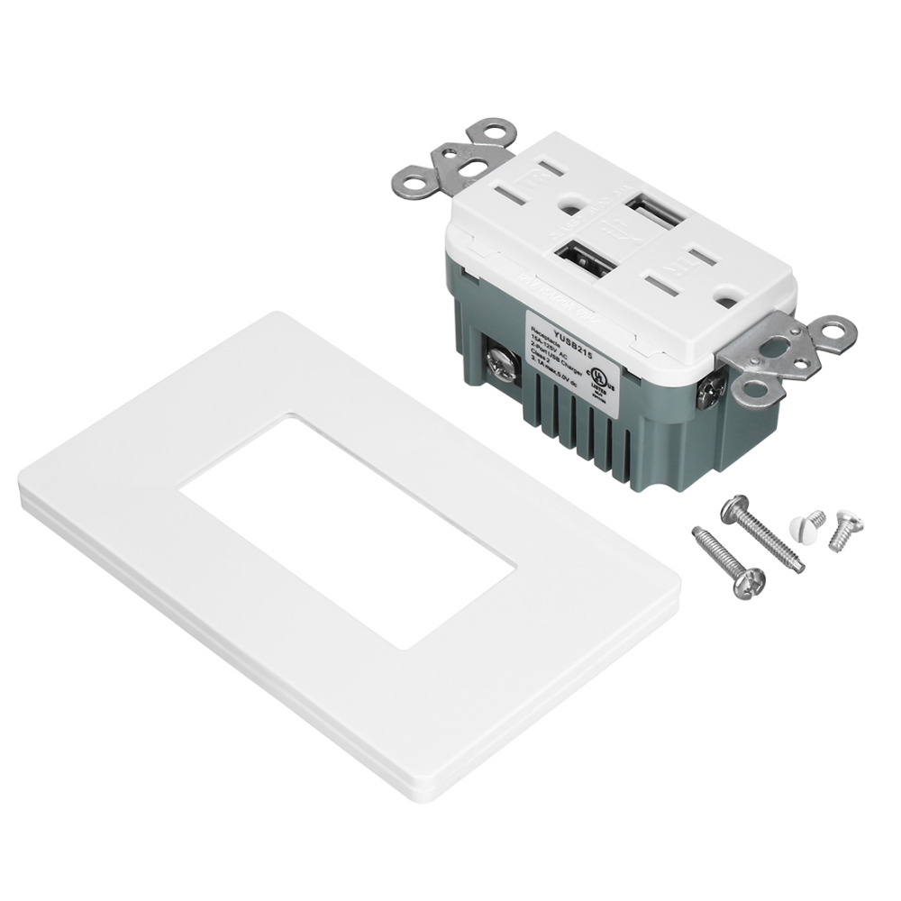 New 5pcs/lot 15A/20A 125V 3.1A Wall Outlet Duplex USB Charger Sockets Tamper-Resistant TR Duplex Receptacle with Wall Plates es2036 duplex