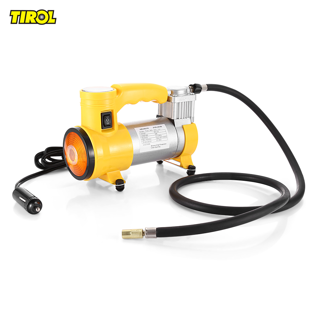 TIROL T10705 Air Compressor Portable Super Flow 12V 150PSI Air Compressor Inflatable Pump Tire Inflator with Light and Beacon