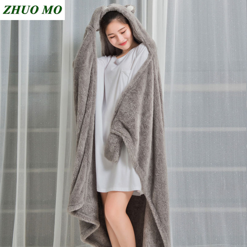 Women Hooded Warm Blankets Coral Velvet Shawl Lazy Multifunctional Office Air conditioned Lunch Break Blanket Sofa