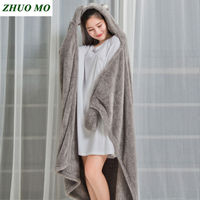 Women Hooded Warm Blankets Coral Velvet Shawl Lazy Multifunctional Office Air conditioned Lunch Break Blanket Sofa Throw Plaid