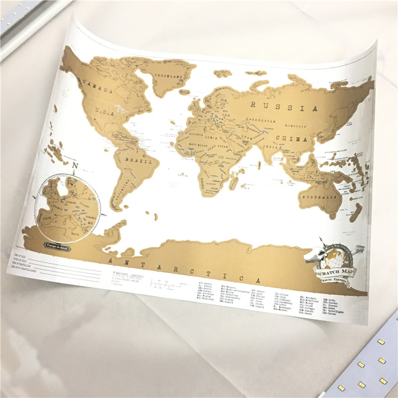 1 Unid Deluxe Borrar Recorrido Mundo Mapa De Scratch Map Wall Decor Personalizada Mini 42x30 Cm