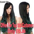 28''Long Curly Green Wigs For Black Women Cheap Synthetic Wigs For Women Long Ombre Wig Cosplay Long Wavy Colored Hair Wig