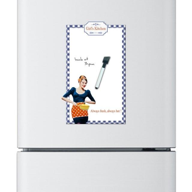 2Pcs Girlu0027s Kitchen Dry Erase Flexible Fridge Magnet Whiteboard/Message  Board/Memo Pad/