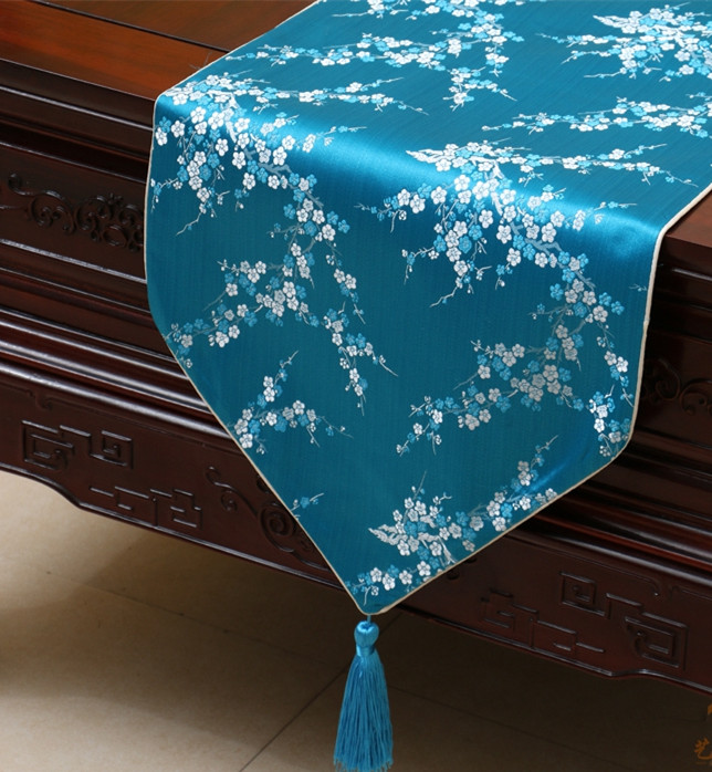 Handmade Cherry Blossoms Table Runner Cloth Rectangle Coffee Tablecloth  High End Silk Brocade Dining Table Mats