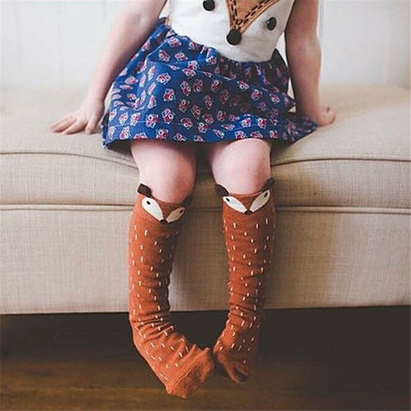 Fashion Style Girls Tights Cartoon Toddler Tights Kids Girls Fox Pattern Knee High Socks For Age 0-6 Years