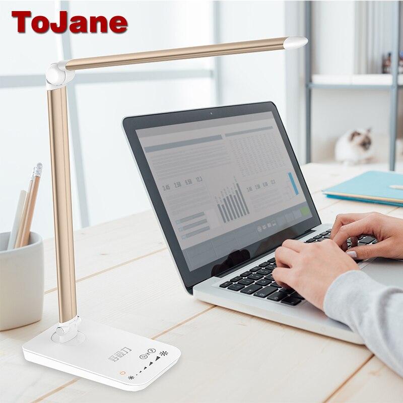 ToJane TG-168 Schreibtischlampe 5 Farbmodi x 7 Dimmbar Ebenen Led Schreibtisch Leselampe 8 Watt Auge-freundliche Led Tischleuchte Metall USB licht