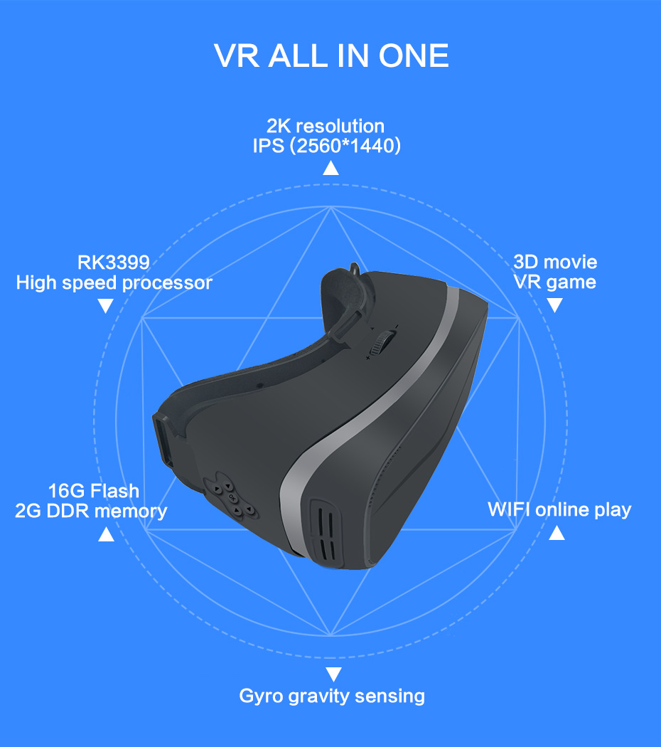 US $279 32 29% OFF|2K VR 3D Virtual Reality Glasses Goggle All In One VR  Headset Android 6 0 RK3399 2560*1440 P IPS 5 5