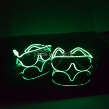 Free Shipping 10pcs/lot sound Voice Activate glasses El Wire Glow Sun Glasses Led heart sunglasses Light Up Multicolor Frame