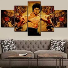 Canvas HD Prints Poster Wall Art Modular Pictures 5 Piece Celebrity Bruce Lee Living Room Home Decor Artwork Painting