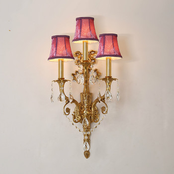 Free Shipping Copper European-style Brass Lamp Wall Light W36cm H70cm 100% Copper Indoor Lighting Classical Vintage Wall Sconce