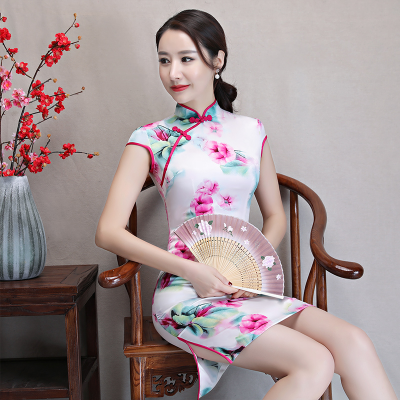 New Arrival Women's Satin Mini Cheongsam Fashion Chinese Style Dress Elegant Slim Qipao Clothing Size S M L XL XXL 368483 22