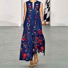 Fashion Vintage Sleeveless Floral Print Dress Women 2019 Summer Pockets Boho Maxi Dress Bohemian Casual Loose V Neck Dress bohemian plunging neckline sleeveless floral print dress for women