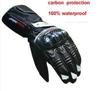Mais novo legal inverno luvas de proteção carbono motorc. ycle à prova dwaterproof água luva moto motocross luvas corrida