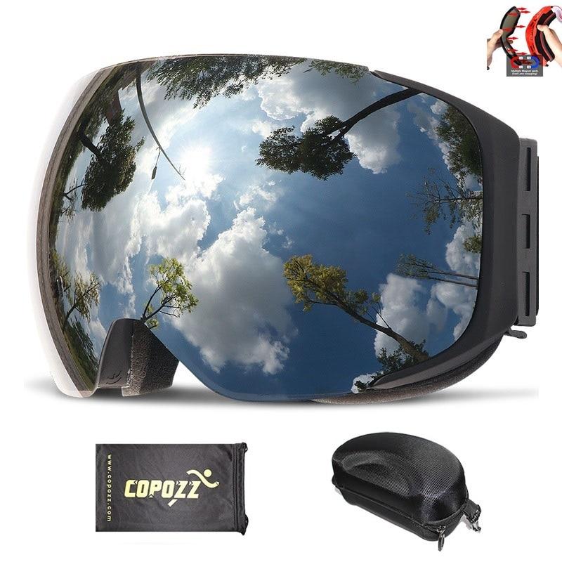 COPOZZ бренд Магнитная Сноуборд горнолыжные очки с случае 100% анти-туман UV400 двойной защиты объектива Для мужчин и Для женщин Снег лыжные очки