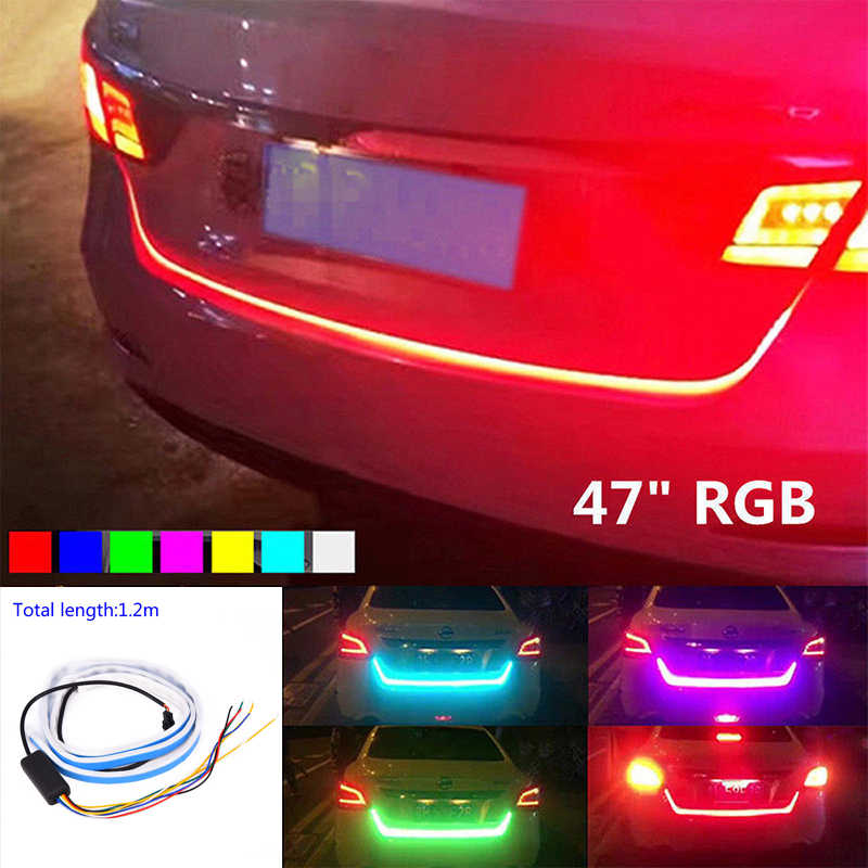 """47 """"RGB 車のリアトランクストリップライトブレーキターン信号 LED ランプ"""