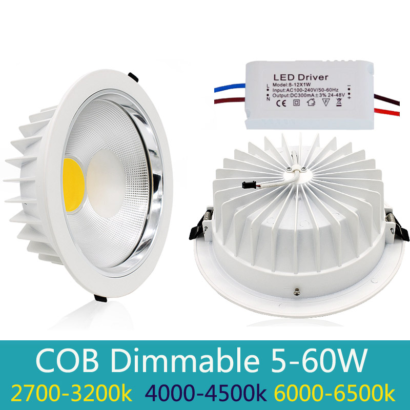 Nieuwe Dimbare Led Downlight COB Spot LED 5 w 10 w 20 w 30 w 40 w led verzonken plafondlamp Warm Koel Wit led Spot Indoor Lichten IP44