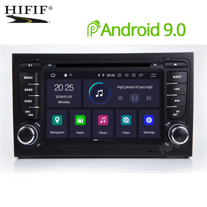 IPS 2 Din Car Multimedia Player Auto Radio GPS Android 9 For A4/S4/Audi 2002 2008 RAM 4GB ROM 32GB DVD Player USB DVR FM DSP