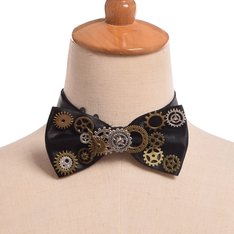 1pc Unisex Steampunk Gear Pattern Necktie Gothic Punk Vintage Bow Tie Mens Neckwear