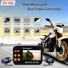 купить Blueskysea 2.7 LCD DV188 Waterproof Motorcycle Camera Dash Cam 1080P Dual DVR HD Moto Camera G-sensor Driving Recorder дешево