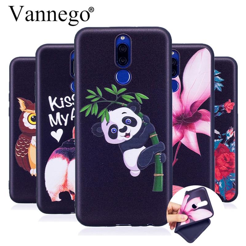 Vannego phone case for Coque Huawei Mate 10 lite 3D Relief Owl Panda Flower Black Soft TPU Cartoon Case sfor Funda Mate 10 lite