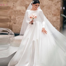 Romantic Muslim Bridal Gowns Ivory White Long Sleeve O-Neck Castle Garden Wedding Dresses 2019 Simple Arabic robe de mariee