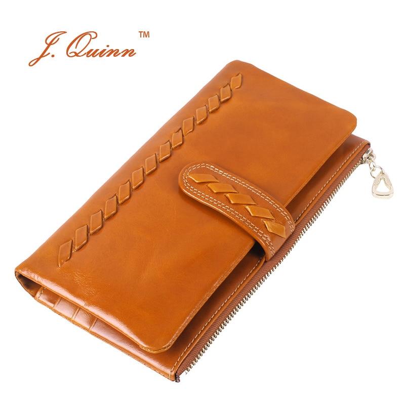 ФОТО J.Quinn Women Genuine Cow Leather Wallets Knitting Long Bifold Wallet Purse Card Holder Zipper Phone Pocket Designer Fashion New
