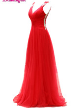 KapokBanyan Real Photo V Neck Appliques Prom Dresses 2017 Simple Red Chiffon Backless Party Gown Sweep Train Robe de soiree